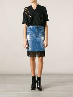 JUNYA WATANABE - fringed denim skirt THIS IS A COOL IDEA TO DIY!!