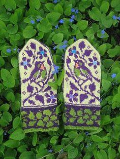 Ravelry: Birds and Flowers pattern by Natalia Moreva Knitting Charts, Hand Knitting, Knitting Patterns, Crochet Patterns, Bird Patterns, Mittens Pattern, Knit Mittens, Knitted Gloves, Knitting Designs