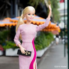 Today's look is stopping traffic! This pink @roksandailincic dress and @edie_parker clutch were totally made for me! Thanks @shopbazaar. #nyfw #barbiexBAZAAR #barbie #barbiestyle | via @BarbieStyle