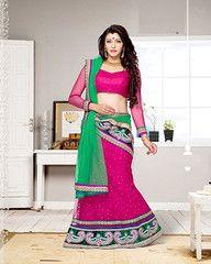 #Pink and #green colour net material #designer #lehenga #choli
