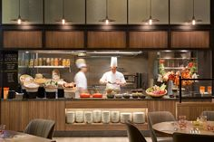 A complete interior renovation for the Singapore hotel Jen Tanglin - carried on by the Hong Kong-based studio BTR workshop shows the tendencies of contemporary Restaurant Kitchen Design, Restaurant Counter, Hotel Kitchen, Kitchen Shop, Cafe Restaurant, Design Hotel, Design Despace, Cafe Design, Design Ideas