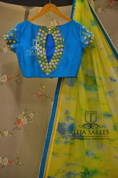 chiffon sarees from teja boutique Saree Blouse Neck Designs, Fancy Blouse Designs, Bridal Blouse Designs, Kurta Designs, Blouse Patterns, Nice Designs, Dress Designs, Mirror Work Blouse, Maggam Work Designs