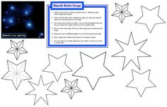 printable template for star mobile - print onto colored paper, cut out and string up on to a dried tree cutting to decorate your room or window Back To School Activities, Activities For Kids, School Ideas, Star Template, Creative Cv, July Crafts, Decorate Your Room, Colored Paper, New Things To Learn