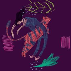 Amelia Giller abstract lady tiger purple