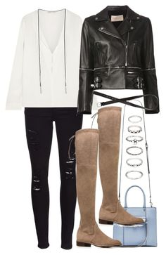 """""""Untitled #1534"""" by vilmanilsson ❤ liked on Polyvore featuring Frame Denim, Maje, Christopher Kane, Rebecca Minkoff, Stuart Weitzman, Forever 21 and H&M"""