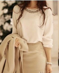 Love the top, neutral colors, blouse with glitter collar, skirt