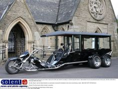 Holy roller: Motorbike lover's coffin carried to church in 24-foot-long trike hearse | Mail Online