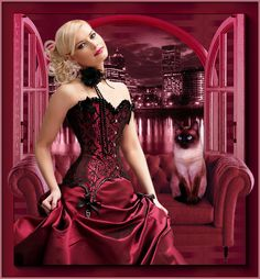 belles images anim s - Page 9 Ely, Beautiful Fantasy Art, Creative Art, Red Color, Formal Dresses, Pictures, Beauty, Gifs, People
