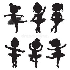 Set of silhouettes of little ballerinas – Kaufen Sie diese Illustration bei Shutterstock und finden Ballerina Kunst, Ballerina Birthday, Little Ballerina, Ballerina Silhouette, Balerina, Illustration, Painting For Kids, Diy And Crafts, Applique
