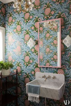 Emily simpson slemily on pinterest ridder is a master of handling patterns like this wallpaper thats your typical powder room says kaling really good in small doses fandeluxe Gallery