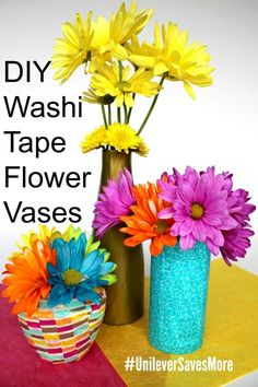 I made DIY Washi Tape Vases ~ so easy & fun to make! http://freebies4mom.com/diyvases ad  How are you upcycling or recycling in the bathroom?  Get more recycling tips at http://lbx.la/psbr10  #UnileverSavesMore