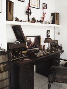 """For all my boho leaning design preferences, when it comes to offices I am in love with the industrial look. I guess my style is just """"vintage"""".-M"""