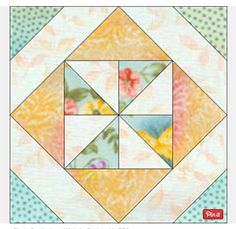 Easy quilt block. Could use giant version as a single baby quilt. Need 4 separate materials.