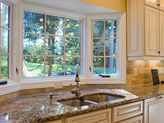 Trendy Kitchen Window Over Sink Ideas Countertops Window Over Sink, Kitchen Sink Window, New Kitchen Cabinets, Kitchen Pantry, Kitchen Countertops, Diy Kitchen, Kitchen Decor, Window Ledge, Grey Cupboards