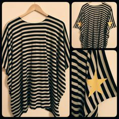 Striped Oversized Top with Stars by MaryMe  #fashion #top #blouse #tshirt #stripes #stars #style #winter #handmade #happy #maryme #women #girls #clothes