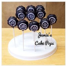 Tire / Wheel / Truck / Tractor Cake Pops by JamiesCakePops on Etsy Make out of Oreos Disney Cars Birthday, Race Car Birthday, Race Car Party, Dirt Bike Birthday, 4th Birthday, Birthday Ideas, Birthday Cake, Festa Monster Truck, Monster Truck Birthday