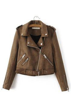 Plain Color Lapel Neck Zipper Biker Jacket with Zipper Pockets