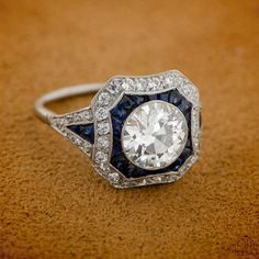 Vintage Style Diamond and Sapphire Engagement Ring - - Estate Engagement Ring Collection - An beautiful and amazing engagement ring! Estate Diamond and Sapphire Engagement Ring. Bijoux Art Deco, Art Deco Jewelry, Fine Jewelry, Jewelry Design, Jewelry Rings, Jewlery, Estate Engagement Ring, Best Engagement Rings, Vintage Engagement Rings