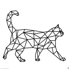 Geometric Cat, Geometric Drawing, Wall Sticker, Wall Decals, Triangle Wall, 3d Pen, Cat Wall, Animal Coloring Pages, Diy Stickers