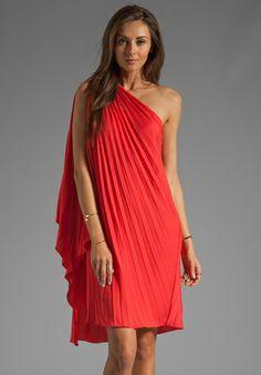 HALSTON HERITAGE One Shoulder Pleated Dress in Poppy