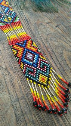 Sacred Ceremony Amulets Handmade Sacred Geometry Jewellery Beaded Jewelry Patterns, Beading Patterns, Beading Ideas, Seed Bead Necklace, Beaded Necklace, American Indian Jewelry, Native American Beadwork, Loom Beading, Bead Art