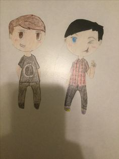 Dan and Phil- I drew them in August, and I decided to put them in my band binder           ;D  ~By Ash @AshCrashs
