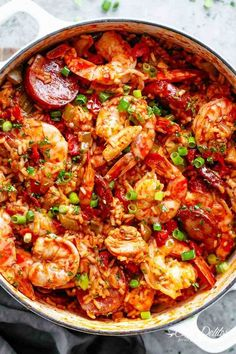 An authentic Creole Jambalaya recipe! A delicious one-pot meal coming to you from New Orleans is pure comfort food filled to the brim with chicken shrimp andouille sausage rice seasonings spices and incredible flavours! Ready and on the table in 45 m Authentic Creole Jambalaya Recipe, Jambalaya Recipe Creole, Best Jambalaya Recipe, Instant Pot Jambalaya Recipe, Jambalaya Seasoning Recipe, Paella Recipe, Creole Seasoning, Jumbalaya Recipe, Cajun Dishes