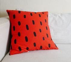Poppy Red Brushstrokes - Linen Pillow Cover - Cotton & Flax