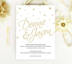 Stars wedding Invitation printed on luxury cream or white pearlescent paper - Gold and black modern simple elegant invitation