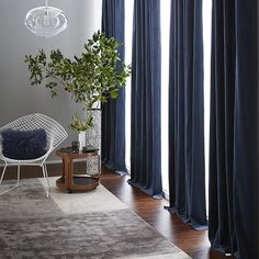 $200 96Hx48W (x2) Velvet Pole Pocket Curtain - Regal Blue | west elm