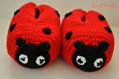 Soft stuffed crocheted Lady Bug Slippers Young Child size by EkayG, $25.00