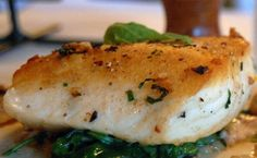 This oven-roasted halibut is served with an arugula puree
