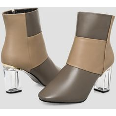 Ashley Stewart Lucite Chunky Heel Bootie - Wide Width (£56) ❤ liked on Polyvore featuring shoes, boots, ankle booties, ankle boots, short boots, zipper boots, chunky heel bootie, chunky heel ankle boots and wide width booties