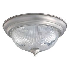 Talista 2-Light Brushed Nickel Flush Mount with Clear Ribbed Glass-CLI-FRT2041-02-55 - The Home Depot