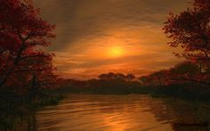 Terra/Natureza Sunset  Cloud Sun Sky Lake Tree Reflection Golden Papel de Parede