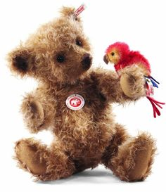 Steiff Alexander Teddy Bear - while I think the bear is cute, the bird is just adorable
