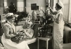 Christmas in a German Hospital for Wounded Soldiers, Berlin. 1914.