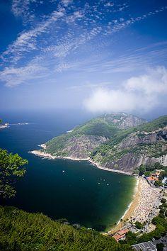 View from Pão de Açúcar over Praia Vermelha (Red Beach), Rio de Janeiro, Brazil