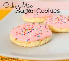 Cake Mix Sugar Cookies (3 dz)  Ingredients: 1 box vanilla cake mix 2 eggs 1/3 c veg oil  Directions: Preheat oven to 350 degrees. Combine all ingredients tog.  Roll into 1-inch balls Bake for 9-11 minutes  Frosting: 1/2 cup (1 stick) butter, softened 1/4 c milk 2 tspn vanilla extract 4 c powdered sugar food coloring  Directions: Combine all ingredients until smooth.  Spread over cooled cookies and top with sprinkles, if desired.