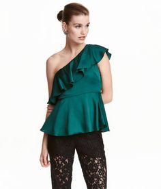 One-shoulder top | Dark green | Ladies | H&M CA