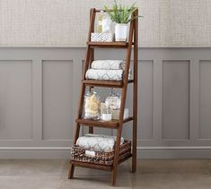 Benchwright Ladder Floor Storage Ladder Bookcase, Ladder Decor, Modern Kitchens