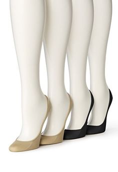 Hue Womens 4 Pair Microfiber No Show Liner Sock AsstMediumLarge Size 2 *** More info could be found at the image url.