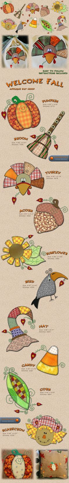 FALL, AUTUM,TURKEY, PUMPKING, FLOWERS Embroidery Designs Free Embroidery Design Patterns Applique