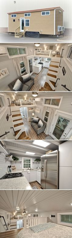 Kate is a turn-key tiny home by Fredericksburg, Virginia-based Tiny House Building Company. The house includes two king size bedroom lofts. house design stairs Kate by Tiny House Building Company - Tiny Living Tyni House, Tiny House Loft, Best Tiny House, Tiny House Living, Tiny House Plans, Tiny House Design, Tiny House On Wheels, House Stairs, House Ladder