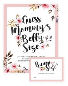 Girl Baby Shower Games Bundle Printable Guess mommys belly size baby shower game printable by LittleSizzle # Baby Shower Flowers, Floral Baby Shower, Baby Shower Fun, Baby Shower Parties, Baby Showers, Girl Shower, Bridal Shower, Mama Baby, Baby Shower Activities