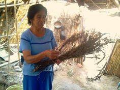 Doña Felícita explica el uso de ramas de sauce para armar la base de las canastas