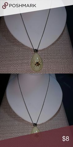 Protector spider laminated spider necklace Protector spider laminated spider necklace on silver stainlees steel chain hypoallergenic 22 inches in length. Alsi glows in the dark.  Spider symbol means protector of your soul and love ones. Accessories Jewelry
