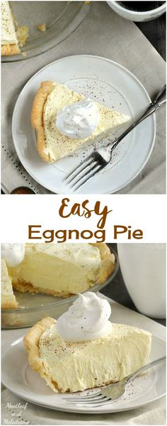 Easy Eggnog Pie is an almost no bake dessert that's perfect for Christmas or Thanksgiving! It's light, fluffy and not filling at all! desserts for thanksgiving Eggnog Pie - Meatloaf and Melodrama Holiday Desserts, Holiday Baking, No Bake Desserts, Holiday Recipes, Dessert Recipes, Christmas Recipes, Snacks Recipes, Recipies, Recipes Dinner