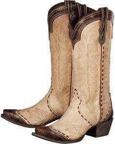 Lane Bone Ramirez Croc Print Cowgirl Boots - Snip Toe