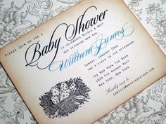 Baby Shower Invitation  Birds Nest with vintage by anistadesigns, $60.00